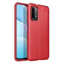 RMPACK Xiaomi Poco M3 Szilikon Tok Bőrmintázattal TPU Prémium Piros