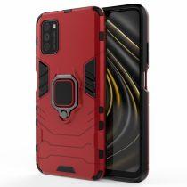 RMPACK Xiaomi Poco M3 Védőtok Ring Guard Gyűrűs 2in1 Tok Ütésálló - Kitámasztható TPU Hybrid Piros