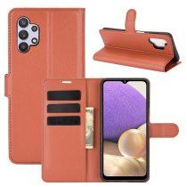 RMPACK Samsung Galaxy A32 5G Notesz Tok Business Series Kitámasztható Bankkártyatartóval Barna