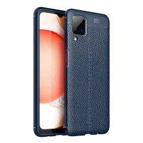 RMPACK Samsung Galaxy A12 Szilikon Tok Bőrmintázattal TPU Prémium Sötétkék