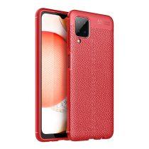 RMPACK Samsung Galaxy A12 Szilikon Tok Bőrmintázattal TPU Prémium Piros