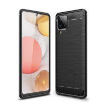 RMPACK Samsung Galaxy A12 Szilikon Tok Ütésállókivitel Karbon Mintázattal Fekete