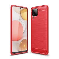 RMPACK Samsung Galaxy A12 Szilikon Tok Ütésállókivitel Karbon Mintázattal Piros