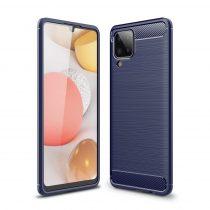 RMPACK Samsung Galaxy A12 Szilikon Tok Ütésállókivitel Karbon Mintázattal Sötétkék