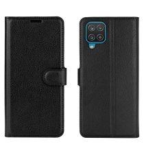 RMPACK Samsung Galaxy A12 Notesz Tok Business Series Kitámasztható Bankkártyatartóval Fekete