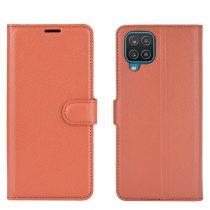 RMPACK Samsung Galaxy A12 Notesz Tok Business Series Kitámasztható Bankkártyatartóval Barna
