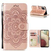 RMPACK Samsung Galaxy A12 Notesz Tok Mandala Mintás Kártyartóval- Kitámasztható Rózsaarany