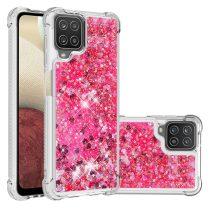 RMPACK Samsung Galaxy A12 TPU Szilikon Tok Glitteres Csillámló Pink