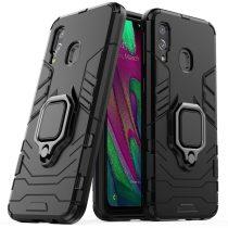 Samsung Galaxy A40 Ütésálló Tok Ring Armor Case Kickstand Kitámasztható Gyűrűs Fekete