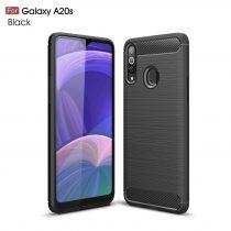 RMPACK Samsung Galaxy A20S Szilikon Tok Ütésállókivitel Karbon Mintázattal Fekete