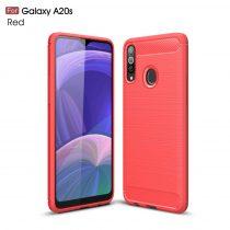 RMPACK Samsung Galaxy A20S Szilikon Tok Ütésállókivitel Karbon Mintázattal Piros