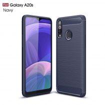 RMPACK Samsung Galaxy A20S Szilikon Tok Ütésállókivitel Karbon Mintázattal Sötétkék