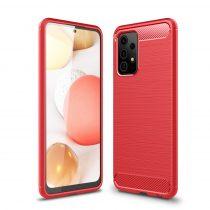 RMPACK Samsung Galaxy A52 5G Szilikon Tok Ütésállókivitel Karbon Mintázattal Piros