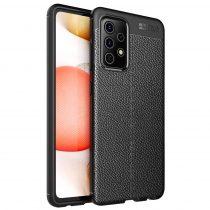 RMPACK Samsung Galaxy A52 5G Szilikon Tok Bőrmintázattal TPU Prémium Fekete