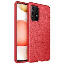 RMPACK Samsung Galaxy A52 5G Szilikon Tok Bőrmintázattal TPU Prémium Piros