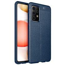 RMPACK Samsung Galaxy A52 5G Szilikon Tok Bőrmintázattal TPU Prémium Sötétkék