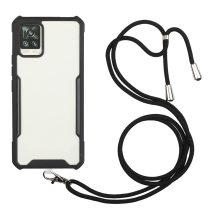 RMPACK Samsung Galaxy A52 5G TPU Ütésállókivitel Szilikon Tok Nyakba Akasztható Pánttal Fekete