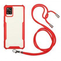 RMPACK Samsung Galaxy A52 5G TPU Ütésállókivitel Szilikon Tok Nyakba Akasztható Pánttal Piros