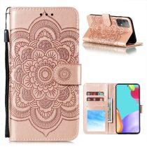 RMPACK Samsung Galaxy A52 5G Notesz Tok Mandala Mintás Kártyartóval- Kitámasztható Rózsaarany