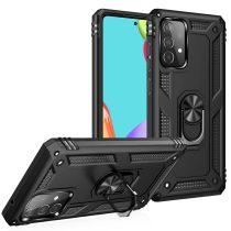 RMPACK Samsung Galaxy A52 5G Armor Tok Ütésálló 2in1 PC TPU Series Gyűrűs - Kitámasztható Fekete