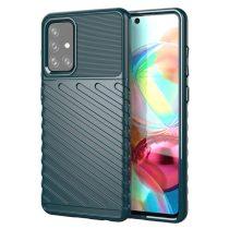 RMPACK Samsung Galaxy A72 5G Szilikon Tok Twill Ütésálló Thunder Series Kivitel Zöld