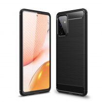 RMPACK Samsung Galaxy A72 5G Szilikon Tok Ütésállókivitel Karbon Mintázattal Fekete