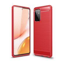 RMPACK Samsung Galaxy A72 5G Szilikon Tok Ütésállókivitel Karbon Mintázattal Piros
