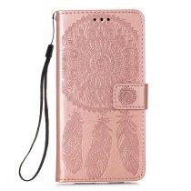 RMPACK Samsung Galaxy A72 5G Notesz Tok Dream Catcher - Álomfogó Mintás Kártyartóval- Kitámasztható Rózsaarany