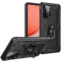 RMPACK Samsung Galaxy A72 5G Armor Tok Ütésálló 2in1 PC TPU Series Gyűrűs - Kitámasztható Fekete