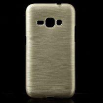 Samsung Galaxy J1 (2016) Szilikon Tok Szálcsiszolt Mintával Arany