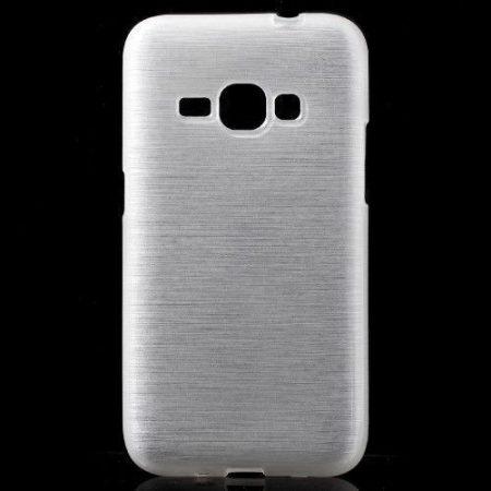 Samsung Galaxy J1 (2016) Szilikon Tok Szálcsiszolt Mintával Fehér