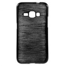 Samsung Galaxy J1 (2016) Szilikon Tok Szálcsiszolt Mintával Fekete