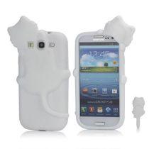 Samsung Galaxy S3 Szilikon Tok 3D Cica Fehér