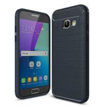 Samsung Galaxy A3 (2017) Karbon - Szálcsiszolt Mintás Szilikon Tok Ütésálló Kivitel Sötétkék