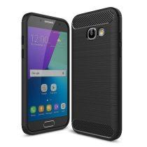 Samsung Galaxy A3 (2017) Karbon - Szálcsiszolt Mintás Szilikon Tok Ütésálló Kivitel Fekete