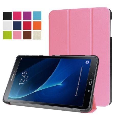 Samsung Galaxy Tab A 10.1 (2016) T580 - Tri-fold Slim Notesz Tok (AutoWakeUp) Rózsaszín