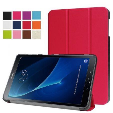 Samsung Galaxy Tab A 10.1 (2016) T580 - Tri-fold Slim Notesz Tok (AutoWakeUp) Piros