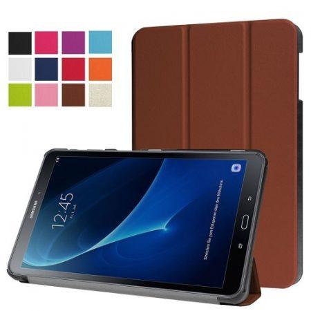 Samsung Galaxy Tab A 10.1 (2016) T580 - Tri-fold Slim Notesz Tok (AutoWakeUp) Barna