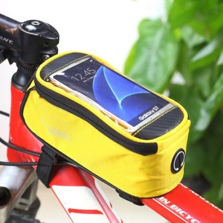Telefontartó Kerékpár / Bicikli - Vázra rögzíthető Érintős Cipzáros 4.8' ROSWHEEL Sárga