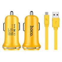 HOCO Z1 Dual USB Autós Töltő + Micro USB Kábel for Smartphones - Sárga
