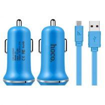HOCO Z1 Autós Töltő Dual USB Port  Micro USB Kábel for Smartphones - Kék