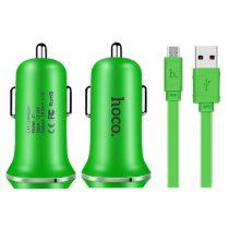 HOCO Z1 2.1A Two USB Autós Töltő  Micro USB Kábel for Smartphones - Green