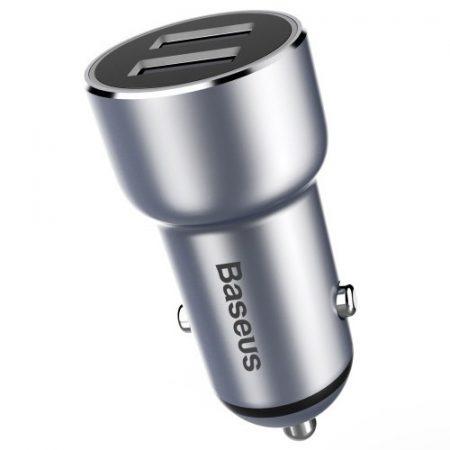 BASEUS Small Giant Metal 3.4A Dual USB Autós Töltő for iPhone Samsung - Grey