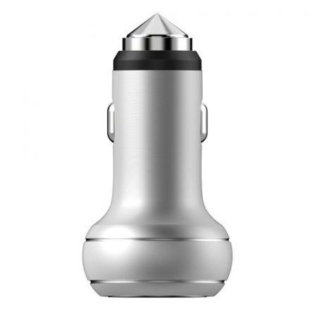 DEVIA Thor Dual USB Port Autós Töltő Emergency Hammer CE/RoHS - Ezüst