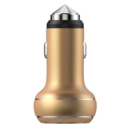 DEVIA Thor Dual USB 2.4A Smart Autós Töltő Emergency Hammer CE/RoHS - Champagne Arany