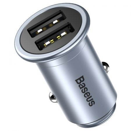 BASEUS Mini T Dual USB Smart Copper Autós Töltő DC 5V 2.4A for iPhone iPad Samsung - Grey