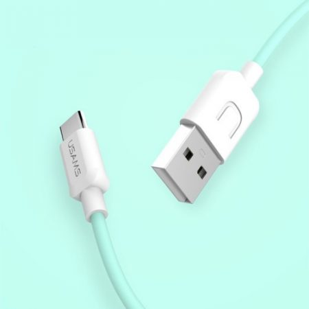 USAMS USB Adat-Töltő Kábel Type-C 2A 1M Cián