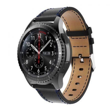 Samsung Gear S3 Classic / Frontier Óraszíj - Pótszíj Valódi Bőr Fekete