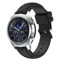Samsung Gear S3 Classic / Frontier Szilikon Óraszíj - Pótszíj Tyre Style Fekete
