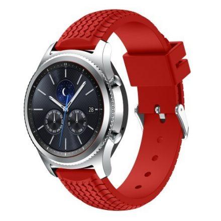Samsung Gear S3 Classic / Frontier Szilikon Óraszíj - Pótszíj Tyre Style Piros